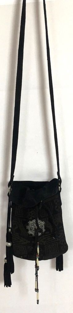 ad0e66a0c377  298 Free People Black Indian Boho Wolf Moon Crossbody Bag Hippy Leather  Purse  FreePeople