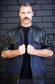 Mustache Men, Moustache, S Man, Good Looking Men, Bearded Men, Sexy Men, Eye Candy, How To Look Better, Bomber Jacket