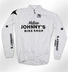 Mellow Johnny's white long sleeve cycling jersey