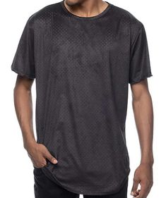 5107e9d5 NEW MEN'S M EPTM. PERFORATED FAUX SUEDE BLACK ELONGATED T-SHIRT - MADE IN
