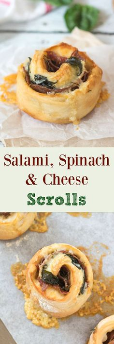 Whip up a batch of these Salami, Spinach & Cheese Scrolls for an easy, speedy lunch. Leftovers freeze well and are perfect for the lunchbox. Appetizer Recipes, Dinner Recipes, Party Recipes, Side Recipes, Party Snacks, Family Recipes, Cheese Recipes, Brunch Recipes, Snack Recipes