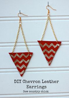 DIY leather Chevron Earring Sew Country Chick