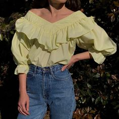 "7af10c773b3e Na Nin Vintage on Instagram: ""Vintage favorite limoncello ruffled cotton  blouse with lace collar detail and beautiful puffed sleeves. Size xs-m $86  + ..."