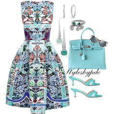 Turquoise Birkin Dreamy !!! by stylesbypdc on Polyvore featuring Mary Katrantzou, Manolo Blahnik, Hermès, David Yurman, Fendi and Christian Louboutin