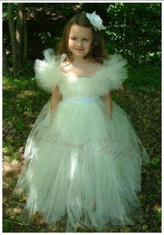 Ivory Flower Girl Tutu Dress with White Sash by FrillsandFireflies, $105.00