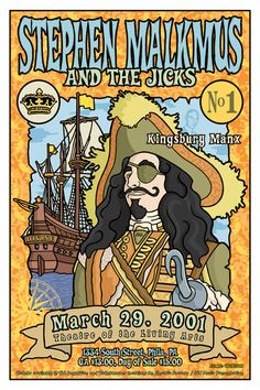 This poster was created by Gregg Gordon / GIGART for the first solo tour by the lead singer of Pavement, Stephen Malkmus and his band The Jicks. The show was at the Theatre Of The Living Arts in Philadelphia, PA on March 29, 2001. Opening band was Kingsbury Manx.  Size: 12 x 18 inch / Litho