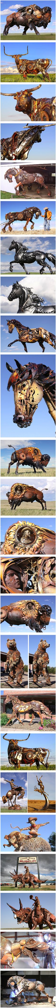 John Lopezn, an ambitious sculptor, actually takes scrap metal from old farming equipment and turns them into remarkable, life-size sculptures of animals—including buffalo, horses, cows, rams, antelope, bears, and even dinosaurs.