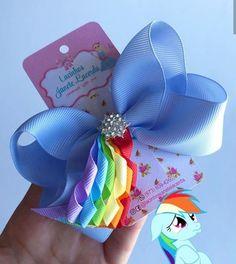 White Hair Bows, Ribbon Hair Bows, Diy Hair Bows, Diy Ribbon, Bow Hair Clips, Rainbow Dash, Baby Girl Bows, Girls Bows, Art Hama
