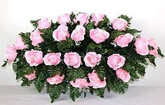 XL Pink Roses Artificial Silk Flower Cemetery Tombstone Grave Saddle Crazyboutdeco Cemetery Flowers