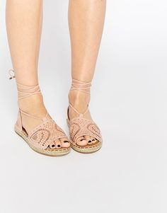 River Island Laser Cut Lace Up Espadrille