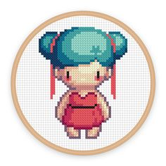 LUNA: a pixel art counted cross stitch pattern par iamnotadoll