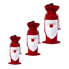 4PC Santa Claus Christmas Red Wine Bottle Cover Bags Christmas Dinner Table Decoration