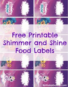 Free Printable Shimmer and Shine food labels - Use to make food tents to label the food at the feast you prepare for your guests.