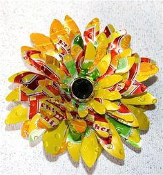 Recycled Can Art | Recycled Soda Can Art-Large Multi Layered 3D Flower with Rhinestone…