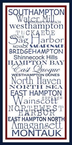 Subway Art Sign The Hamptons Destination Typography by PaperBleu