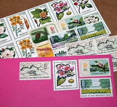Botanical Beauties .. Unused Vintage Postage Stamps by TreasureFox
