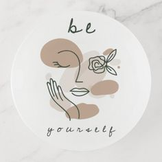 Shop Positive Quote Be Yourself Female Face Line Art Trinket Trays created by Fotografixgal. Personalize it with photos & text or purchase as is! Female Face Drawing, Female Art, Female Faces, Abstract Face Art, Face Lines, How To Line Lips, Simple Lines, Woman Face, Line Art