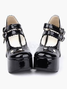 6c8880f9e544 Glossy Black Lolita Chunky Heels Shoes Platform Shoes Ankle Straps Buckles  Bow Hollow Heart
