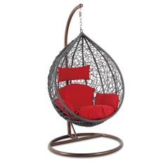 Outdoor Chair – Island Gale Hanging Basket Chair Outdoor Patio Furniture with Stand and Cushion(Grey Wicker, Orange Cushion) Patio Seating, Patio Chairs, Outdoor Chairs, Swing Chairs, Hanging Swing Chair, Swinging Chair, Wicker Swing, Orange Cushions, Hanging Baskets