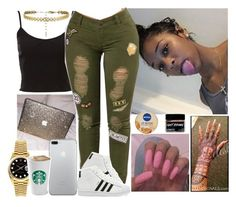 """""""✨"""" by melaninmonroee ❤ liked on Polyvore featuring adidas, Rolex and Nivea"""