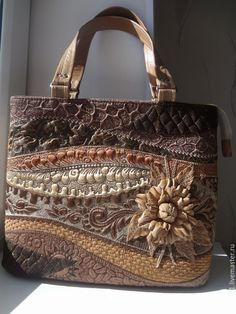 """Купить Сумка """" Кофейная """". - коричневый, стеганная сумка, лоскутная сумка, стежка"""