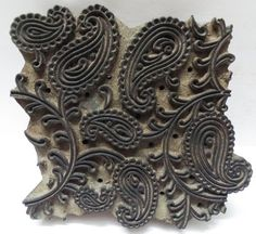 Indian wooden hand carved printing stamp #paisley #india #print