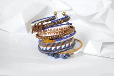 "Bracelet ""Ribambelle"" tons bleu marine et cuivre, sodalite et ambre : Bracelet par knock-on-wood"
