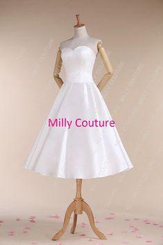 Simple short wedding dress vintage short wedding by MillyCouture