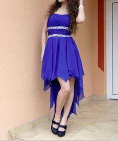 High Low Prom Dresses,Chiffon Prom Dress,Royal Blue Prom