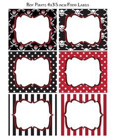 DIY Pirate Birthday Party PRINTABLE Red by PinkMonkeyPartyPrint, $5.00