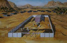 Tabernáculo de Israel en el desierto del Sinaí, 1500 a.C., con las doce tribus de Israel acampadas a su alrededor.