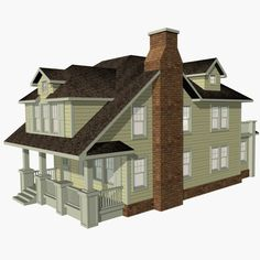 3ds exterior craftman house - House Craftsman Narrow Lot by chaosfractal