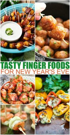 Finger Food Appetizers For New Years Eve - Family Fresh Meals Who is excited for New Years Eve? One of my favorite things about this fun evening is all the yummy Finger Food Appetizers For New Years Eve! New Years Eve Snacks, New Years Eve Party Ideas Food, New Year's Eve Appetizers, Finger Food Appetizers, Appetizer Recipes, Quick Appetizers, Appetizers For New Years, Food For New Years Eve, New Years Eve Dinner