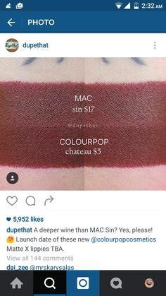 #dupe #lip #swatch #MAC #colourpop #vampred