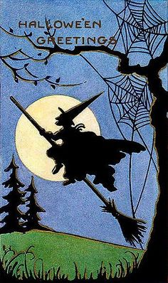 Hedge Riders: Vintage Whitney Halloween Postcard Silhouette of a Witch Flying on a Broom. Retro Halloween, Fröhliches Halloween, Vintage Halloween Images, Halloween Pictures, Holidays Halloween, Halloween Decorations, Halloween Costumes, Halloween Clothes, Baba Yaga
