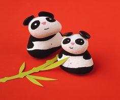 Painted rocks panda bears