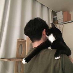 via sarzze. Crazy Cat Lady, Crazy Cats, Pretty Boys, Cute Boys, Beautiful Boys, Cat Dog, Cat People, Ulzzang Boy, Cute Korean