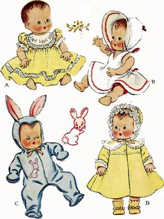 Vintage Sewing Patterns Vintage Doll Clothes Pattern 1657 for 11 inch Tiny Tears Betsy Wetsy by Ideal - Baby Clothes Patterns, Doll Sewing Patterns, Baby Doll Clothes, Baby Patterns, Vintage Sewing Patterns, Clothing Patterns, Baby Dolls, Sewing Toys, Reborn Dolls