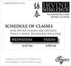 Class schedule #wingchun #classes #orangecounty