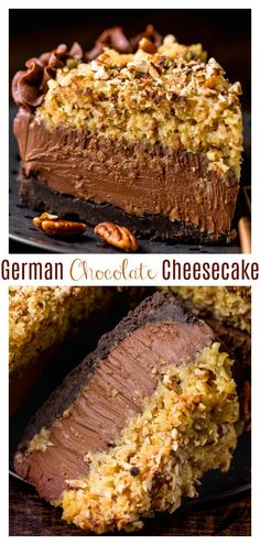 This No-Bake German Chocolate Cheesecake is insanely decadent and such a treat! Featuring a crunchy Oreo cookie crust, c Köstliche Desserts, Chocolate Desserts, Delicious Desserts, Dessert Recipes, German Chocolate Cheesecake, Biscuit Oreo, Bon Dessert, Cheesecake Recipes, Cookie Cheesecake