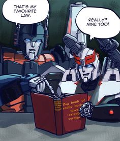 Prowl and Ultra Magnus flipping through the Tyrest Accord