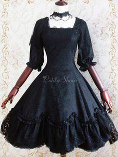 Vestido de Lolita gótica del telar jacquar media manga volantes encaje - Lolitashow.com