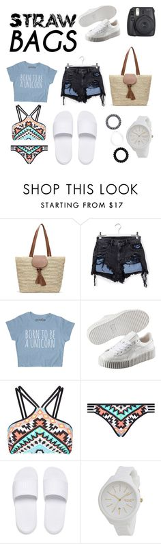 """Walk on the beach"" by leonnaw ❤ liked on Polyvore featuring Alexander Wang, Puma, Seafolly, Rip Curl and strawbags"
