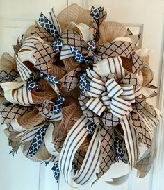 Decomesh Spring and Summer Wreath, Navy, Beige, Cream, Stripes & Quatrafoil on Canvas Ribbon