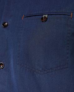 Camisa vaquera de manga larga - Azul marino | Camisetas | Ted Baker Reino Unido Mens Designer Shirts, Designer Suits For Men, Designer Clothes For Men, Gents Kurta Design, Boys Kurta Design, Mens Casual Dress Outfits, Men Dress, Cotton Shirts For Men, Casual Shirts For Men