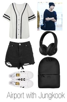 """Airport with Jungkook"" by btsoutfits-1 ❤ liked on Polyvore featuring Boohoo, adidas Originals, Rains and Beats by Dr. Dre"