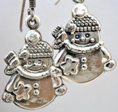 Sterling Silver Snowman Earrings Dangle Drop Pierced 925 Snow Man #Unbranded #DropDangle