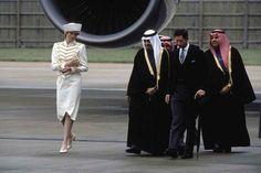April 10, 1987: Prince Charles & Princess Diana with King Fahd of Saudi Arabia at the Sovereigns Parade at the Royal Military Academy in Sandhurst, Berkshire, England.