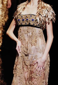 Dolce and Gabbana Autumn/Winter 2006 - Gold empire waist lace feather cap sleeve gown