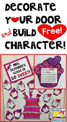 "❤️FREE❤️ Door decor perfect for Valentine's Day and building character. These cute little ""positive"" cupcakes are used to spread love in the classroom and at the end of the month, each child will go home with a compliment cupake. Everything is prepped and ready for you!  This is the first of a series of DOOR DECOR TO BUILD CHARACTER. ❤️ Spread the L❤️VE!!!!"